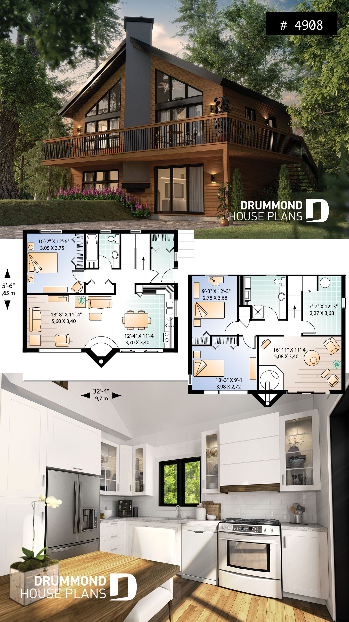 House Plan The Skybridge 2 No 4908 In 2020 Lake House Plans Drummond House Plans Cottage Plan