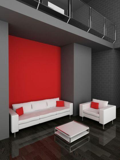 decorar saln en rojo negro y gris techos altos