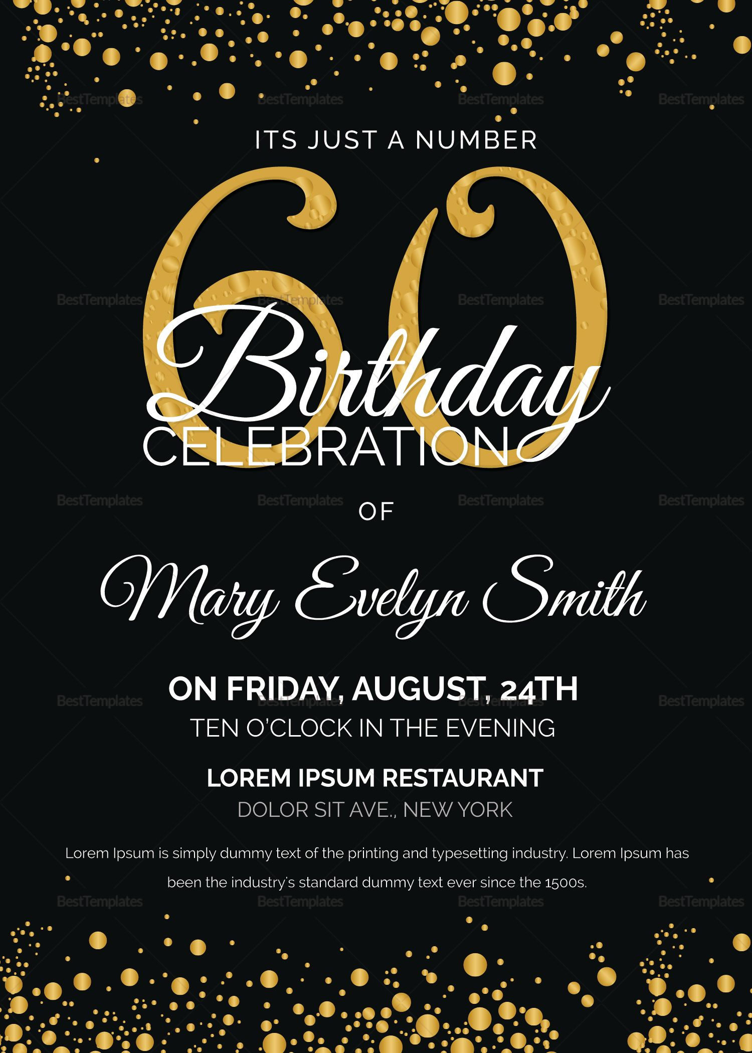 Black And Gold 60th Birthday Party Invitation Template 60th Birthday Party Invitations 60th Birthday Invitations Party Invite Template Free 60th birthday invitations template