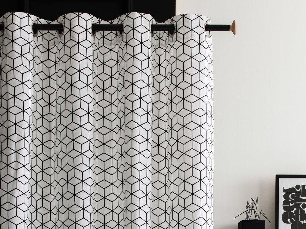 100 Coton Dimensions Largeur 140 Cm Longueur 240 Cm Motifs Cubes Etoiles Rosaces Couleur Noir Avec Images Rideau Noir Et Blanc Rideaux Oeillets Rideaux Noirs