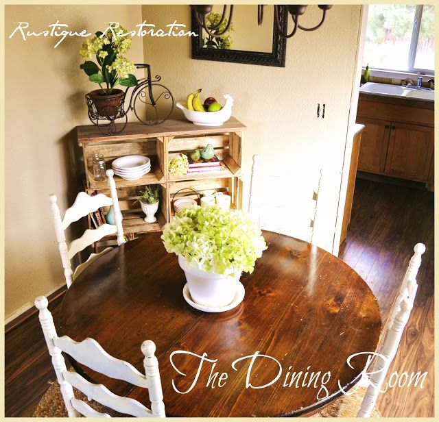 DIY Wood Crate Buffet Or Bookshelf And My Dining Room Spring Decor Rustiquerestoration