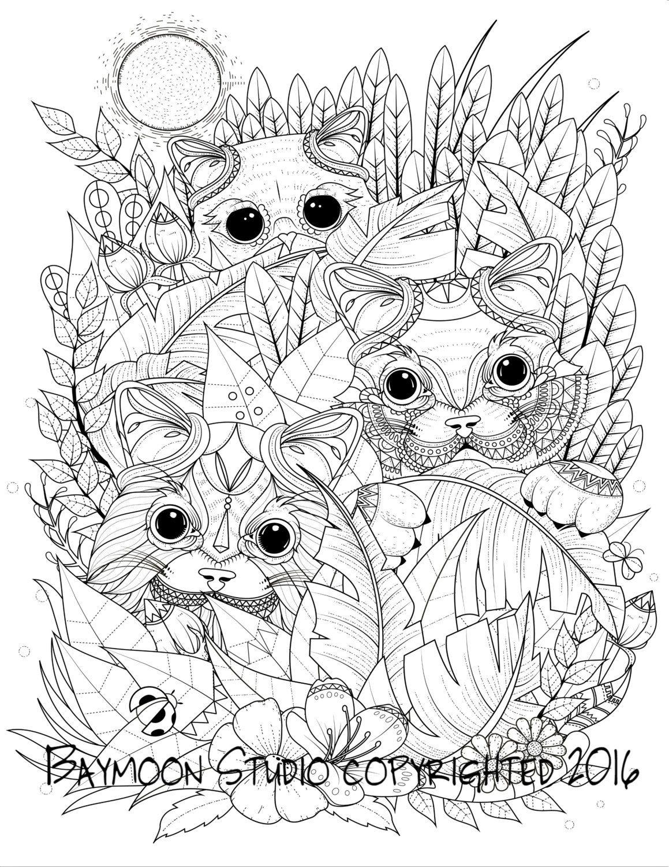 Gatos en el jardín para colorear página páginas por BAYMOONSTUDIO ...