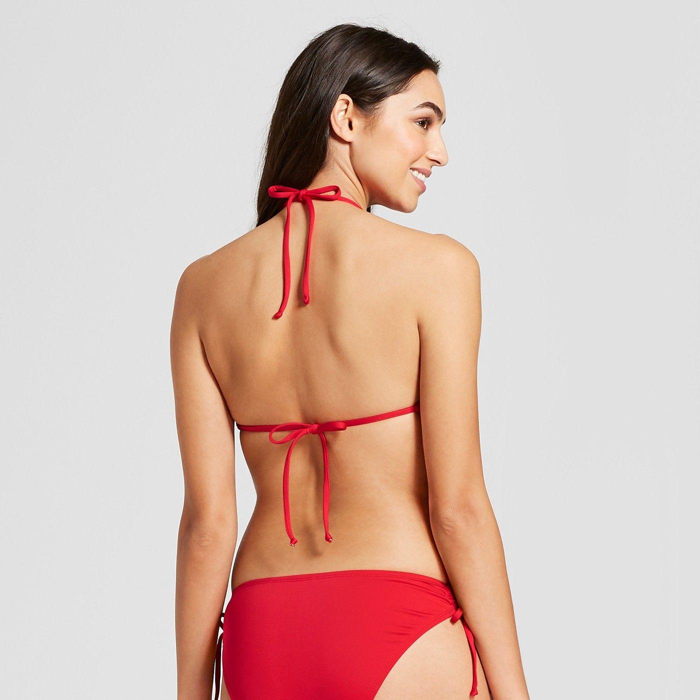 c955de4920a05 Women s Strappy High Neck Halter Bikini Top - Black - D DD Cup - Mossimo