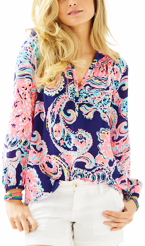 2e408e3cfe76db Navy and Pink Paisley Blouse by Lily Pulitzer | Paisley Print Trend ...