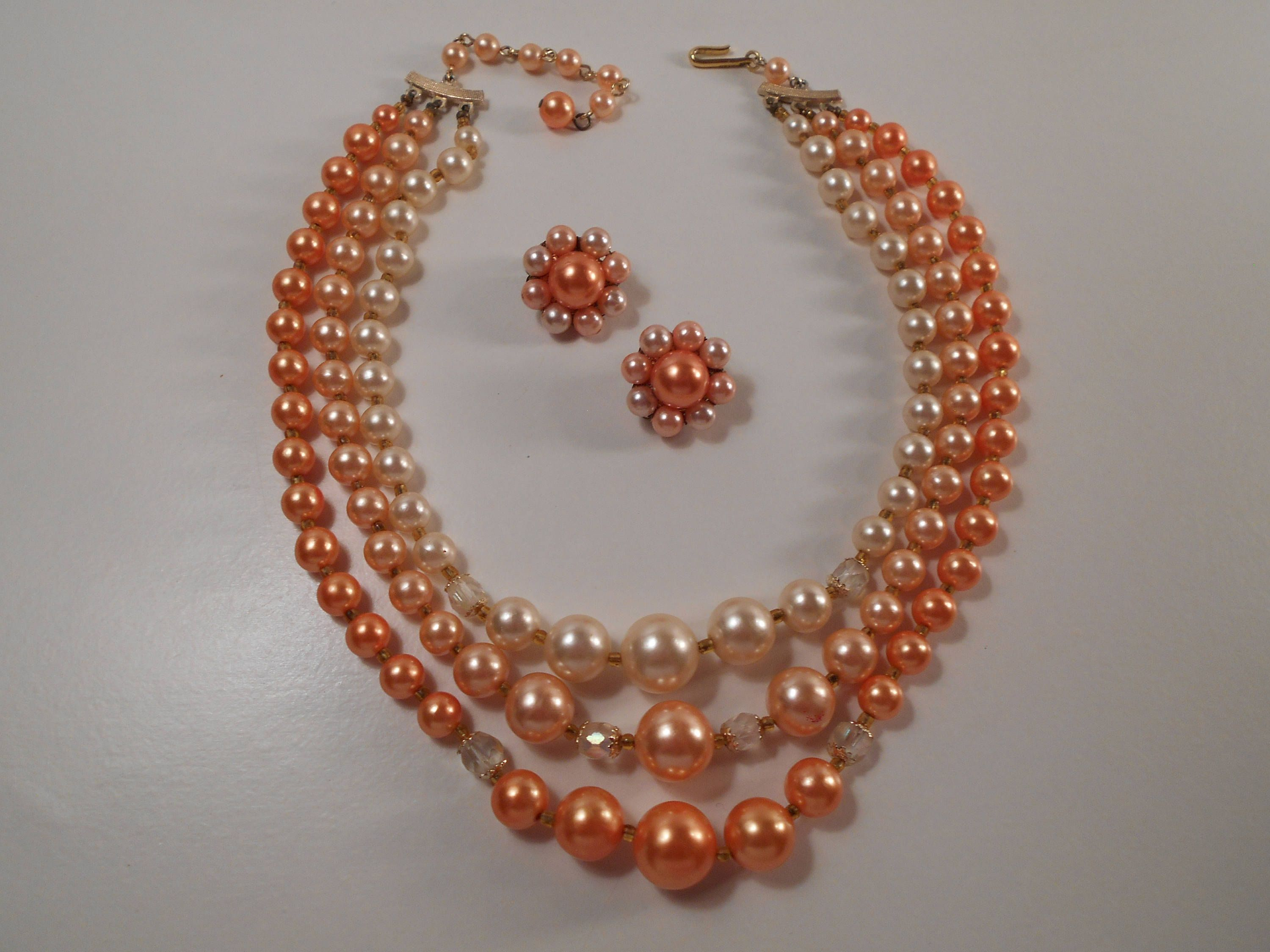and kokomo products bracelet pink peach jewellery white pearls
