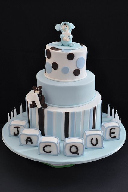 Blue Christening cake with baby name blocks Cake Boy cakes and Babies