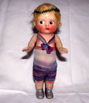 "UNUSUAL ANTIQUE LG 15"" COMPO FLAPPER DOLL FROM ESTATE"