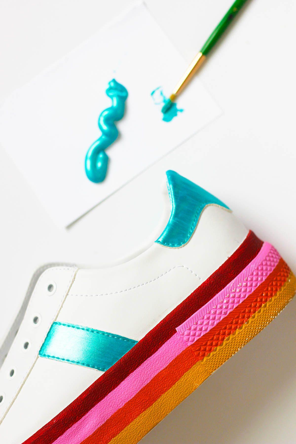 Diy Rainbow Platform Sneakers Diy Sneakers Sneaker Art Diy Shoes