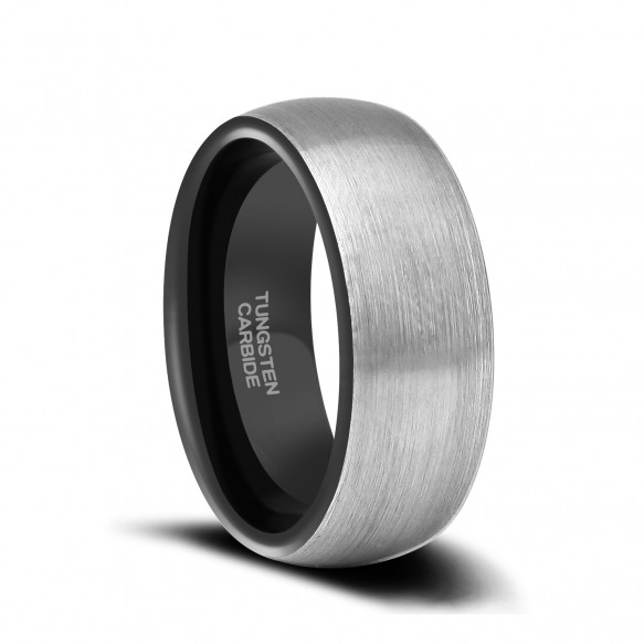 Two Tone Tungsten Mens Wedding Bands Brushed Mens