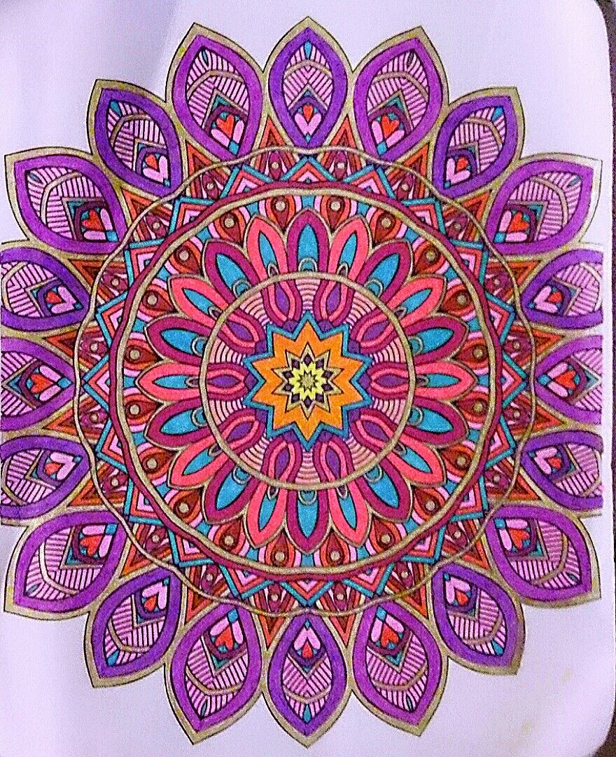 Mandala Colored With Gel Pens And Sharpie By Judy Soto Mandala Coloring Pages Mandala Drawing Mandala Coloring Books