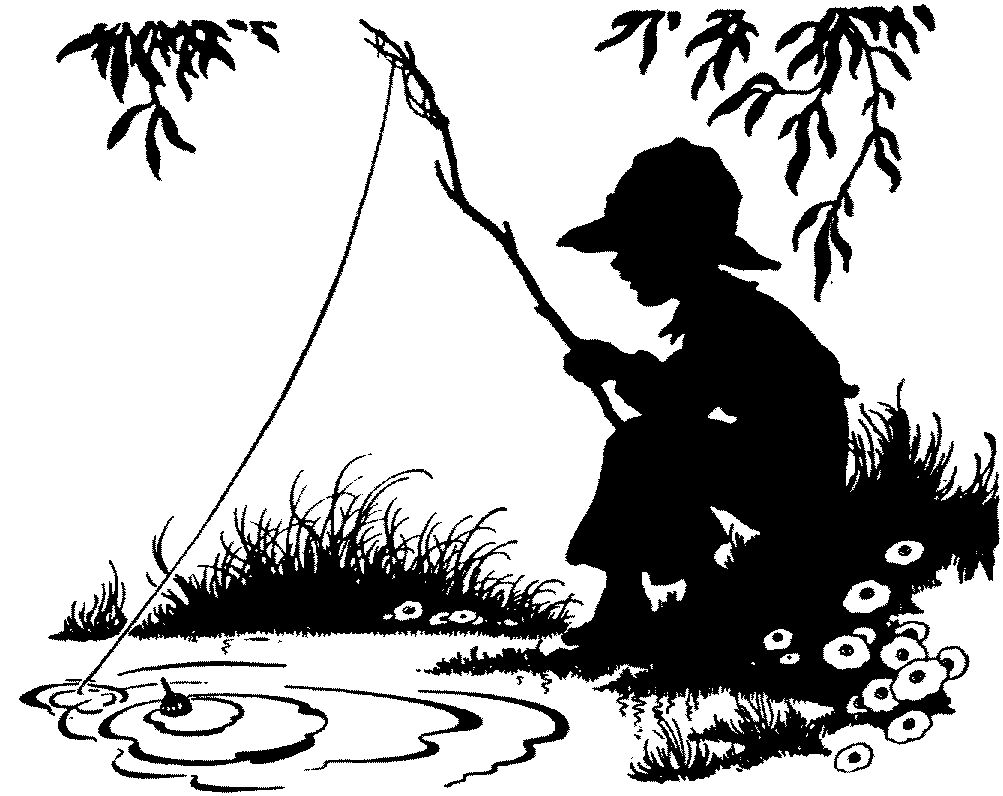 Little boy fishing... B&W Silhouette .. www