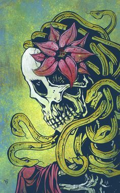 Medusa Day of the Dead Art by David Lozeau