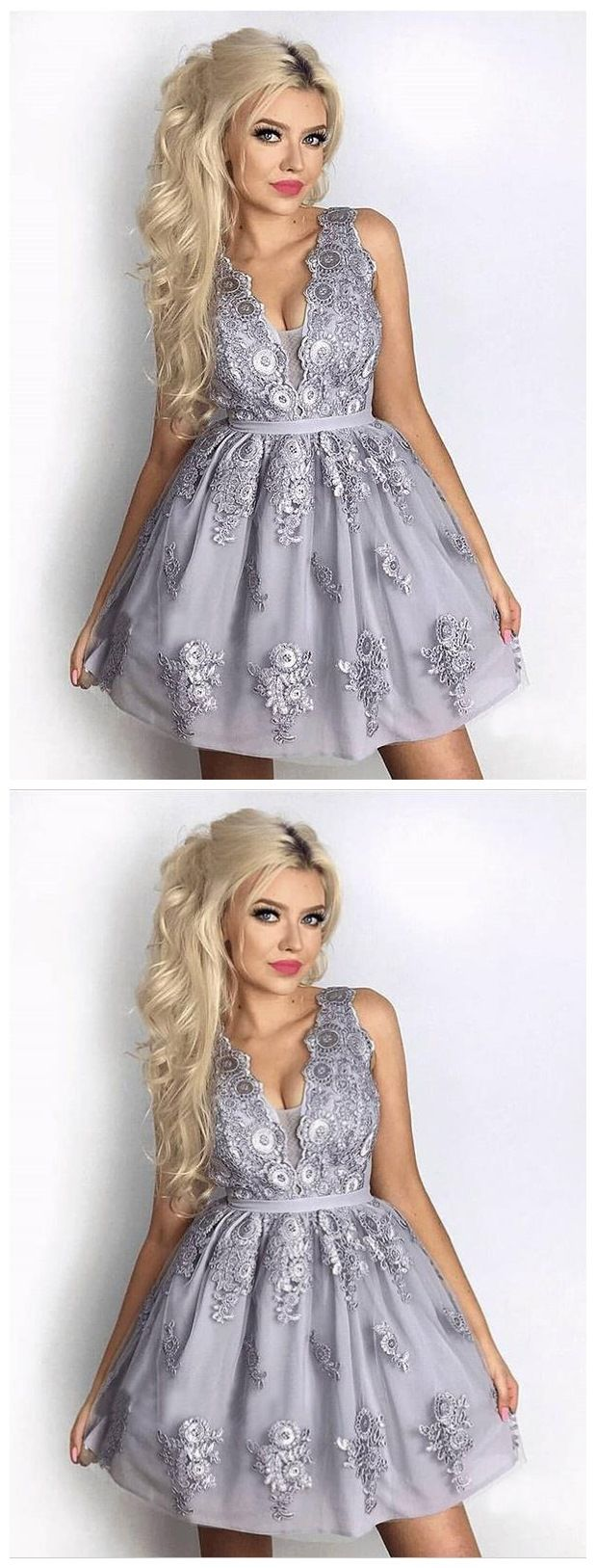 43ec4b17b6 Silver Grey Lace Appliqued Homecoming Dresses V Neck Cheap Short ...