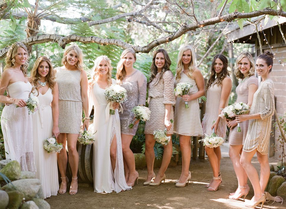 Real Bridesmaids In Beige Bridesmaid Dresses: Bohemian Inspired California Wedding At Holly Farm