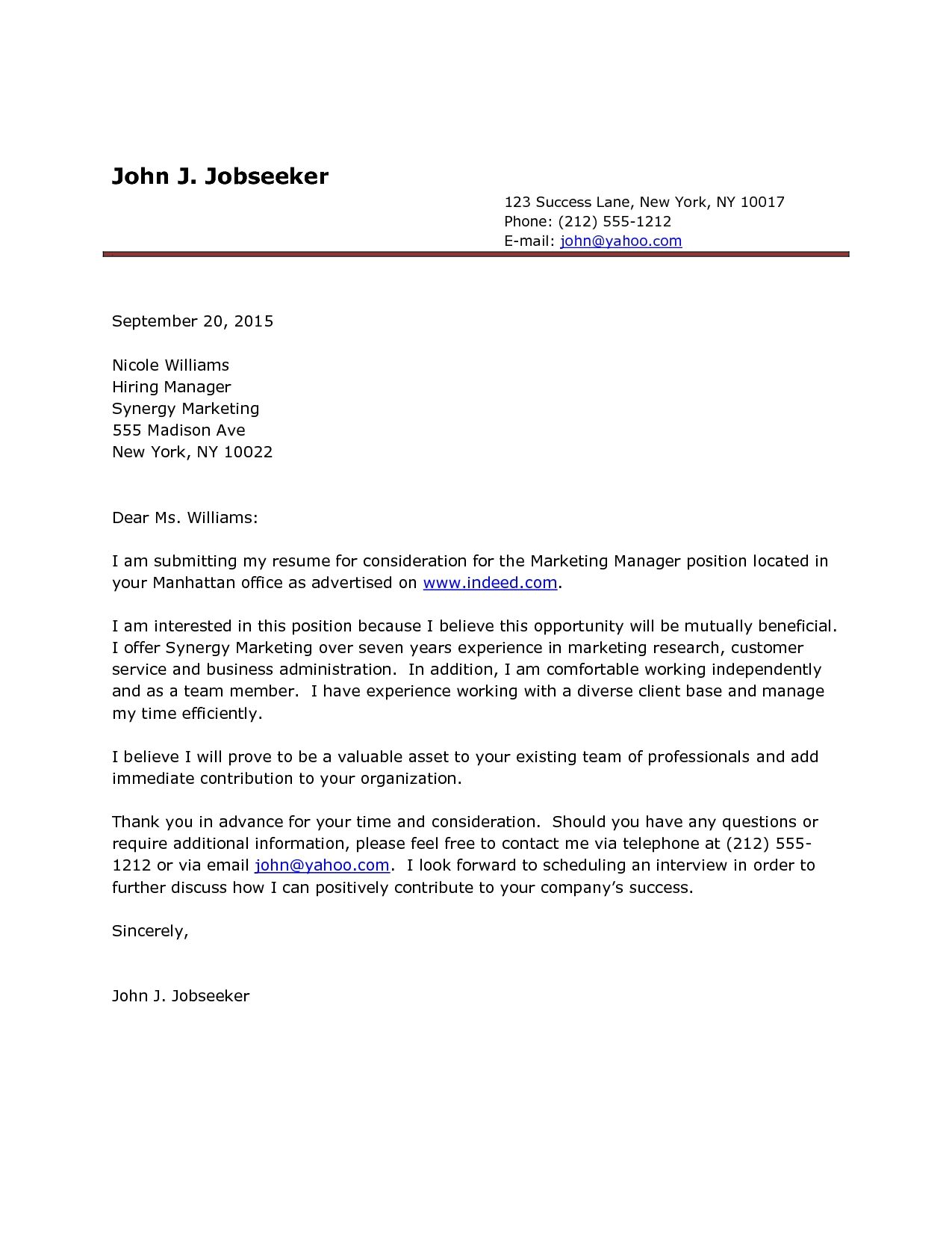 Cover Letter Template Indeed Resume Cover Letter Examples