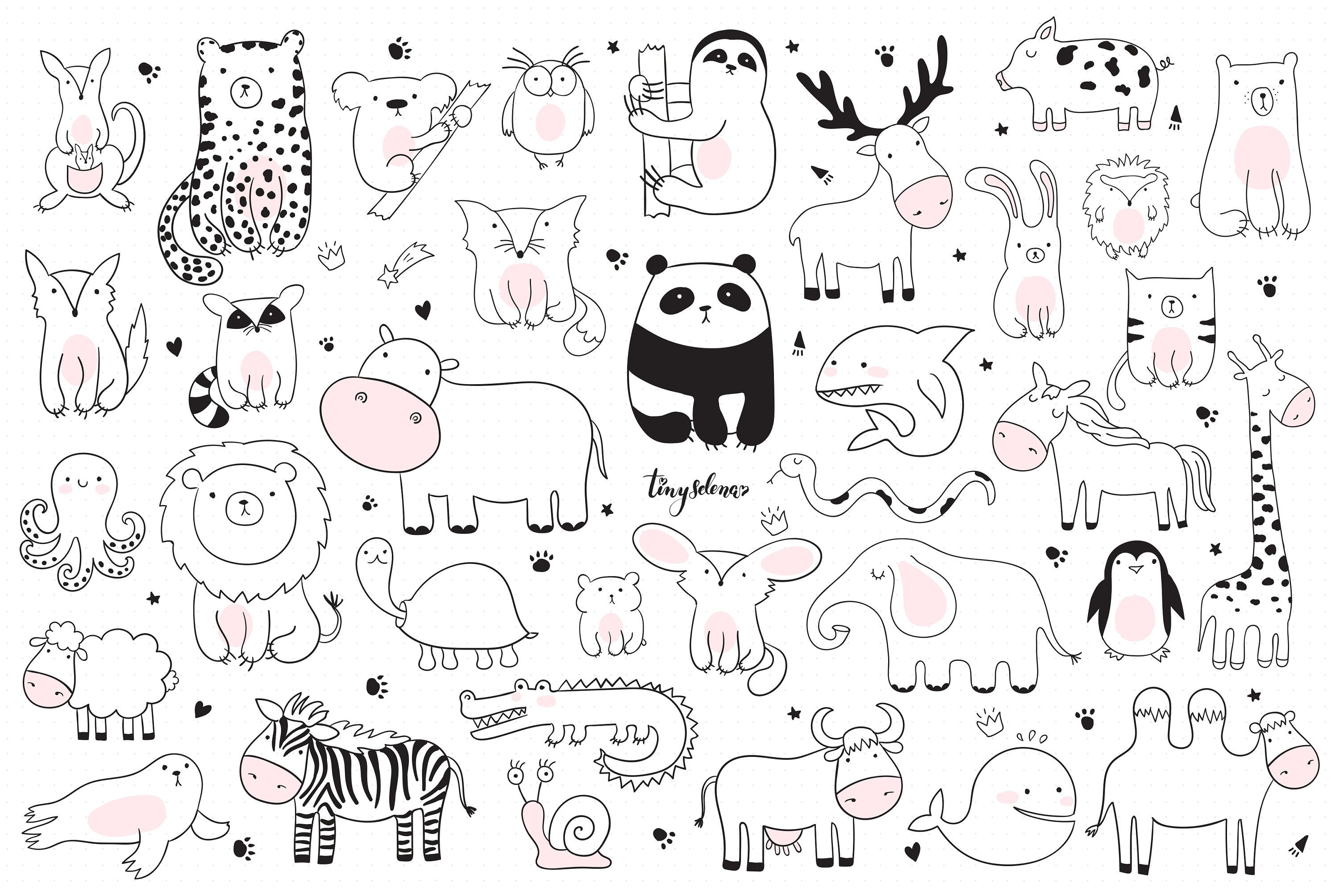 Baby Cute Animals Svg Line Art Svg Zoo Clipart Woodland Etsy Minimalist Animal Baby Animal Drawings Animal Clipart