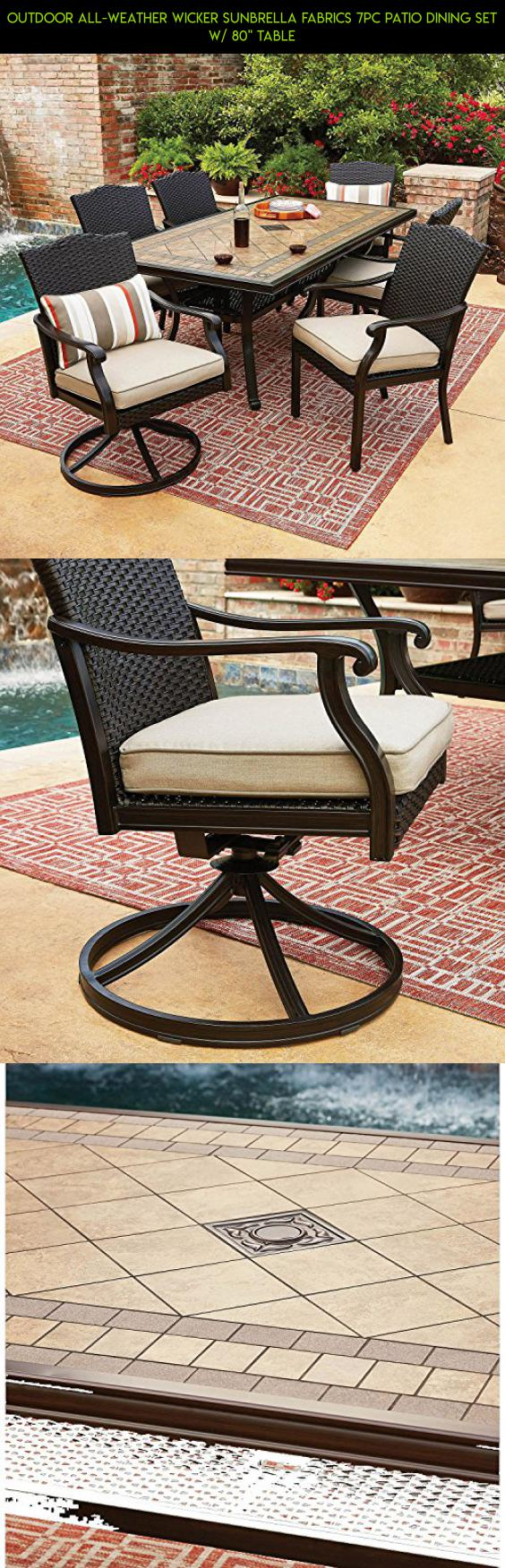 outdoor all weather wicker sunbrella fabrics 7pc patio dining set