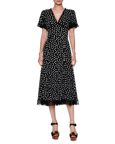 2d9e0eb75fc DOLCE & GABBANA Polka-Dot Flutter-Sleeve Midi Dress, Black/White ...