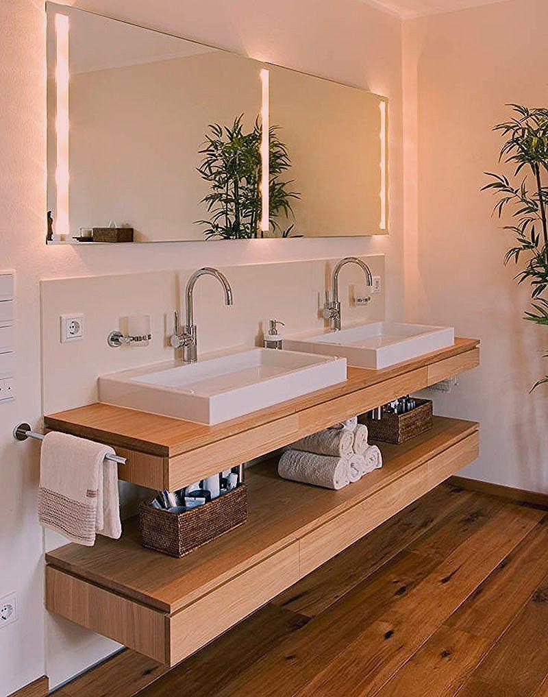 Badezimmer Design Ideen Offenen Regal Unterhalb Der Arbeitsplatte Zwei Waschbecken Sitzen Ube Moderne Waschbecken Kleines Bad Waschbecken Badezimmer Design