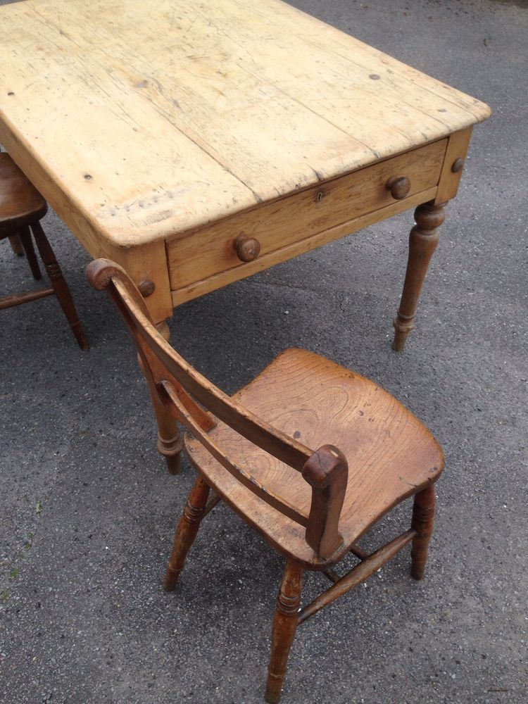 Victorian Pine Scrub Table Crown Stamped To Base Antique Pieces I