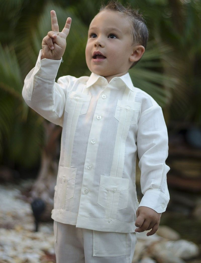 Set Pant and Shirt Guayabera Cuban style. Linen for boys. 2 pieces ...