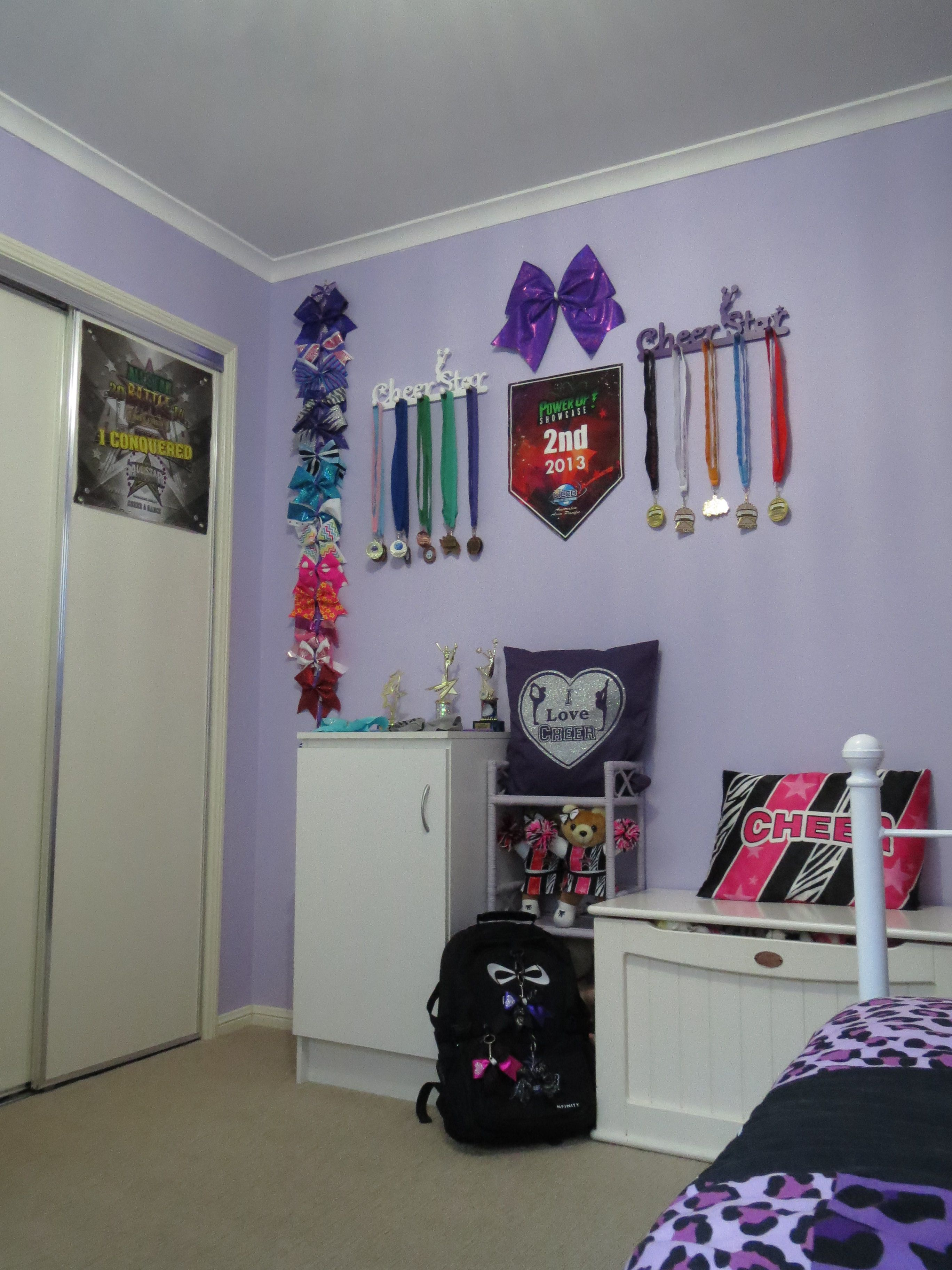 Cheer bow holder for cheer bows and hair bows cheer bow hanger - Cheerleader Wall D Cor 3 Cheer Cheerleader Cheerbows Cheerbowholder Cheerleading Decorationscheerleading Bedroomcheer Bowscheer Bow Holderscheer
