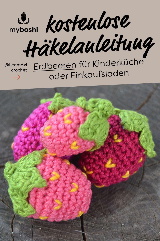 Photo of Kinderküche oder Lebensmittelgeschäft häkeln DIY-Zubehör: Erdbeeren