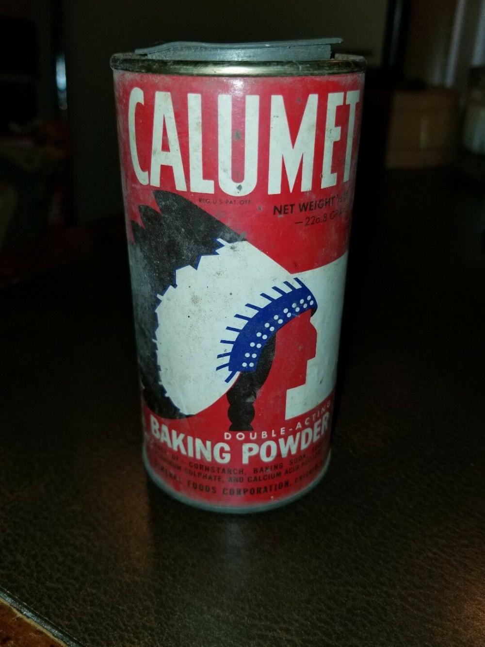Vintage Paper Label Calumet Baking Powder tin 1/2lb Indian