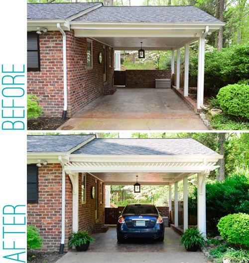 Hip Roof Pergola Over Garage Doors From Atlanta Decking: Building A Garage Or Carport Pergola