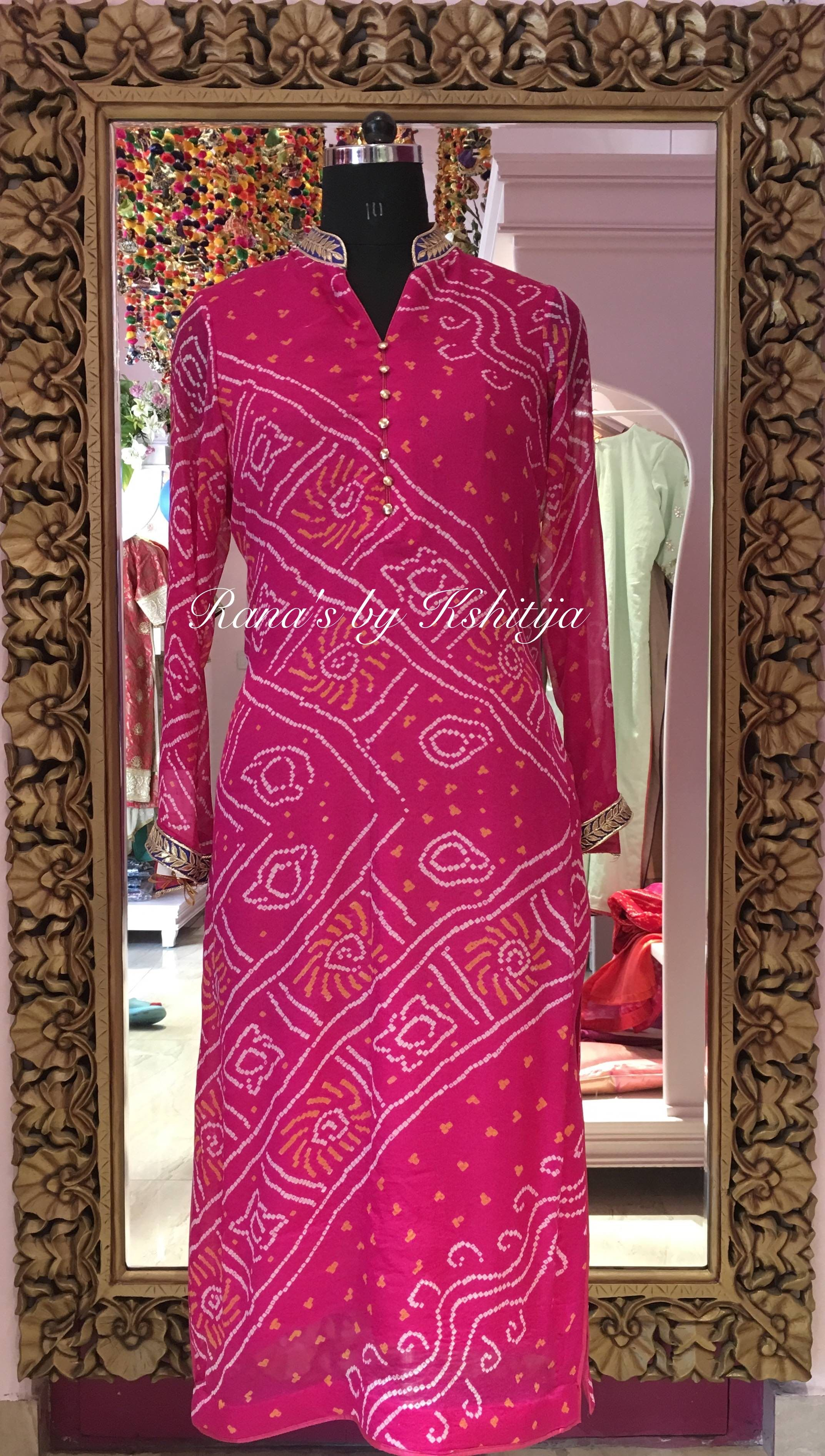 Bandhani Kurti Rani Pink In Pure Georgette Rana S By Kshitija In 2020 Long Kurti Designs Bandhani Dress Kurta Designs