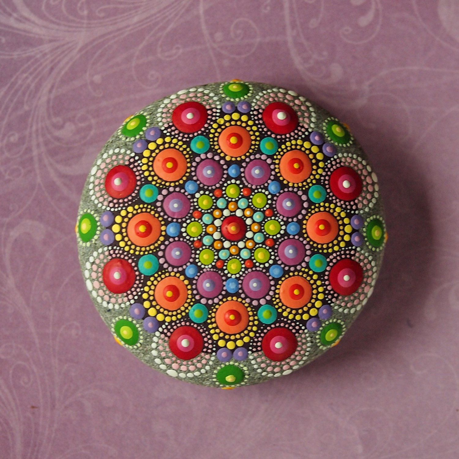Jewel Drop Mandala Painted Stone hand painted by por ElspethMcLean