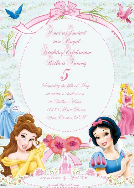 disney princess themed invitation