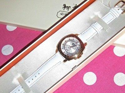 New Coach 14501601 Women Small Boyfriend Rose Gold Tone White Leather Watch   eBay
