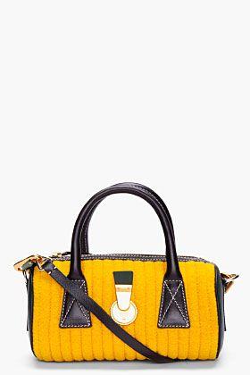Kenzo Small Mustard Wool Bowling Bag for Women | SSENSE