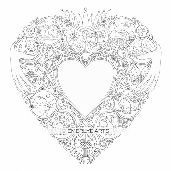 Claddegh Heart - an adult coloring page in the Open Heart ...