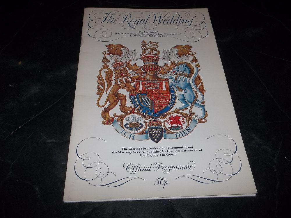 Vintage Royal Wedding Program Princess Diana Prince Charles St Pauls Cathedral