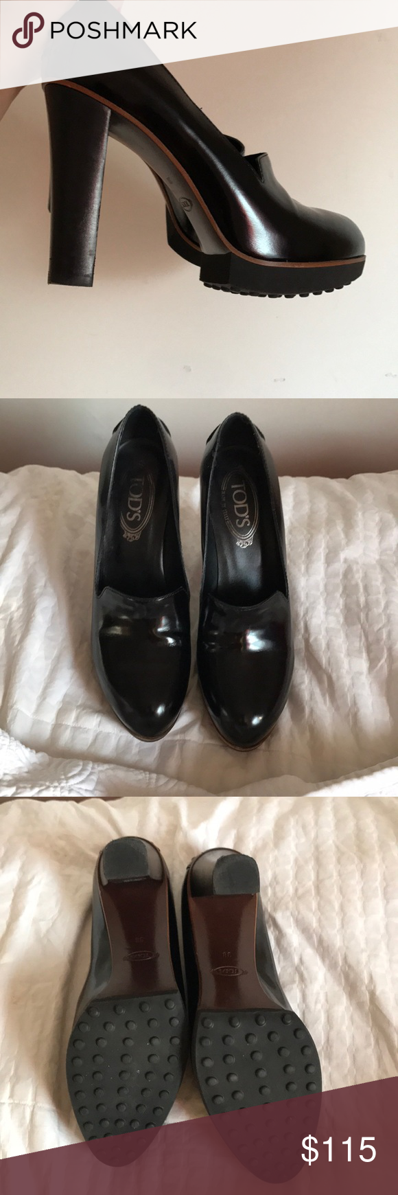 Black Platforms - Tod's 4 inch platform - black leather and never been worn  - Super comfortable  ~Not exact picture but similar~ Tod's Shoes Platforms
