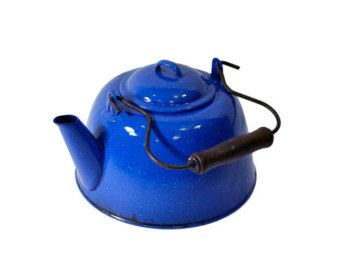 Vintage Blue Enamel Teapot Kettle Royal Tea Farmhouse Kitchen Decor