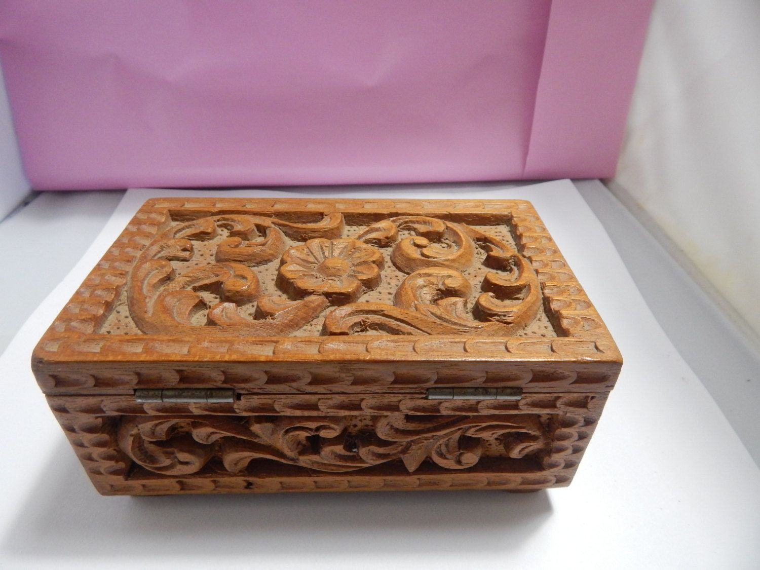 """Vintage 1960's Carved Wood Trinket Decorative Box   6"""" x 3.5""""  x 3"""" by ZimmysCollectibles on Etsy"""