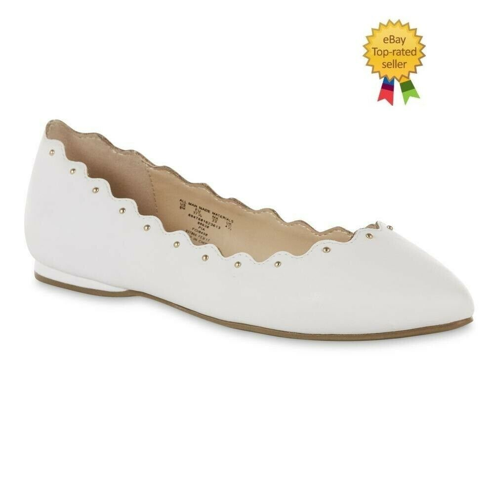 be34e9187502c Metaphor Womens Pia Ballet Flat Shoes Slide On White w Studs size 8 NEW # Metaphor