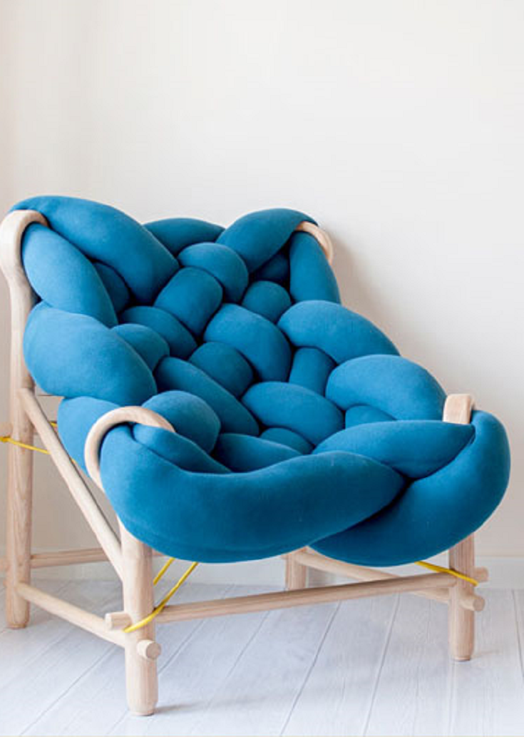 This furniture collection makes use of various knitting and weaving ...