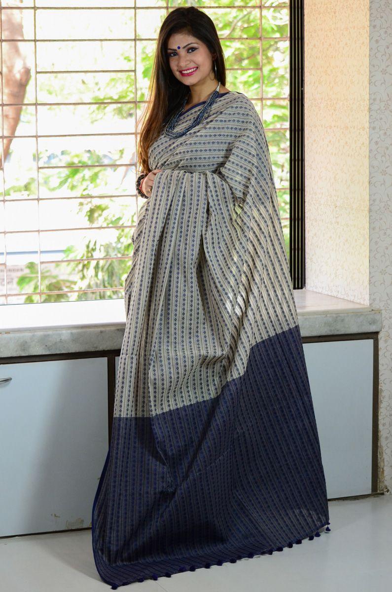 3e63c610e4 Buy Cotton Khadi Rudraksha Woven Booti Designed Handloom Saree ...