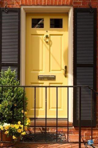 Yellow door red brick house door colors with red brick - Front door colors for red brick house ...