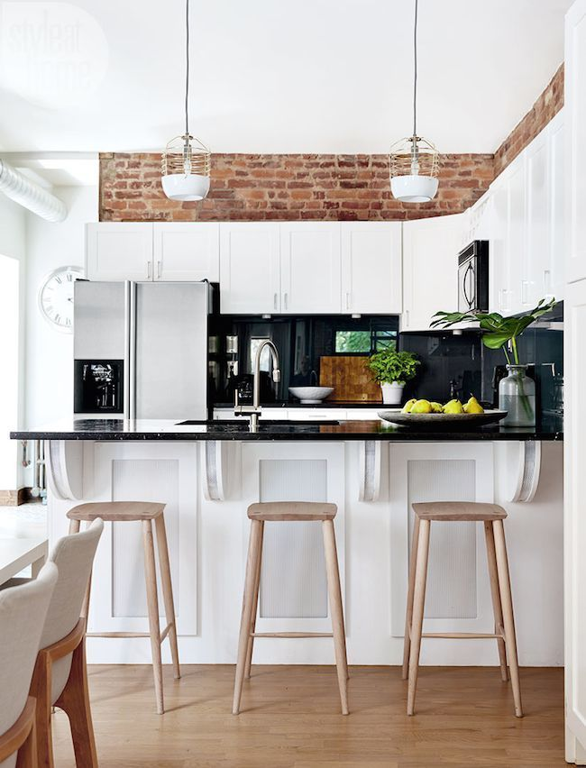 White Kitchen Exposed Brick exposed brick accent in the kitchen | accent walls | pinterest