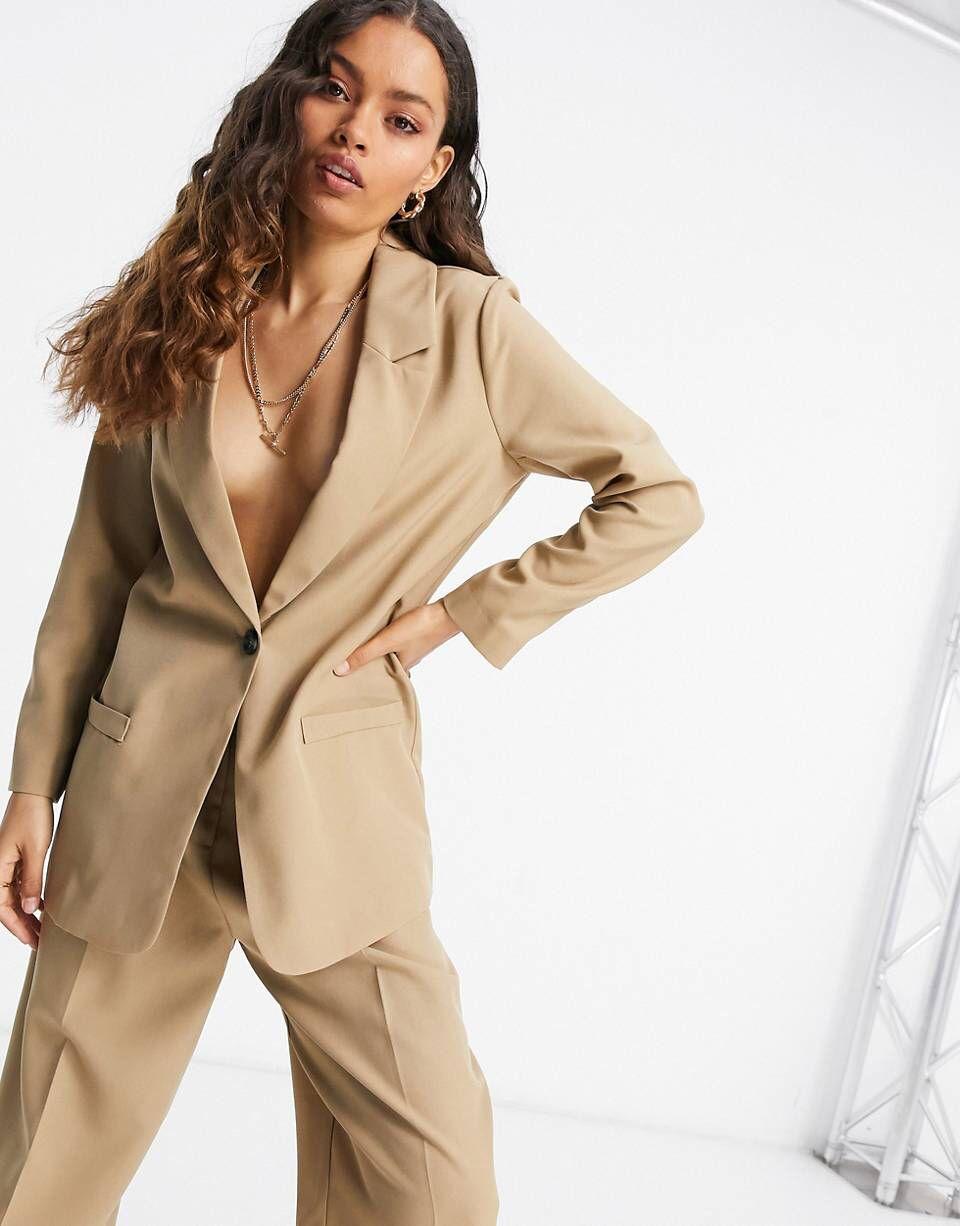 ASOS DESIGN Petite mansy suit blazer in mocha   AS