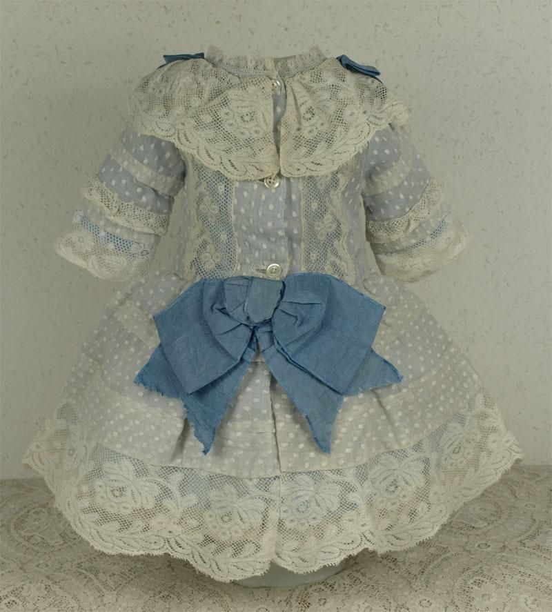 Wonderful Antique Dotted Muslin French Bebe Dress for Jumeau, Bru, Steiner other French Doll. Very fine antique dotted muslin French bebe…