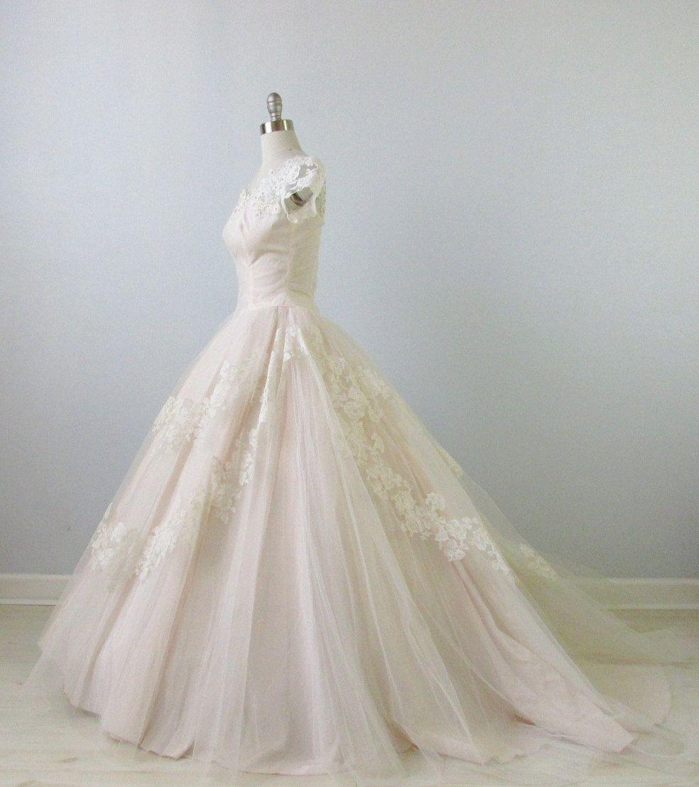 On Hold 1950s Wedding Dress   Blush Pink Wedding Dress   Sweet Love ... 84abf283a5