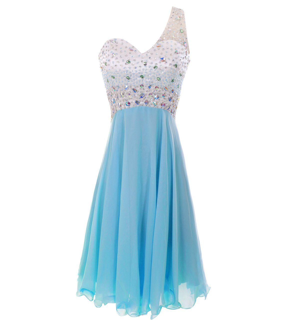 Melantha one shoulder homecoming dresses short prom dress beadings