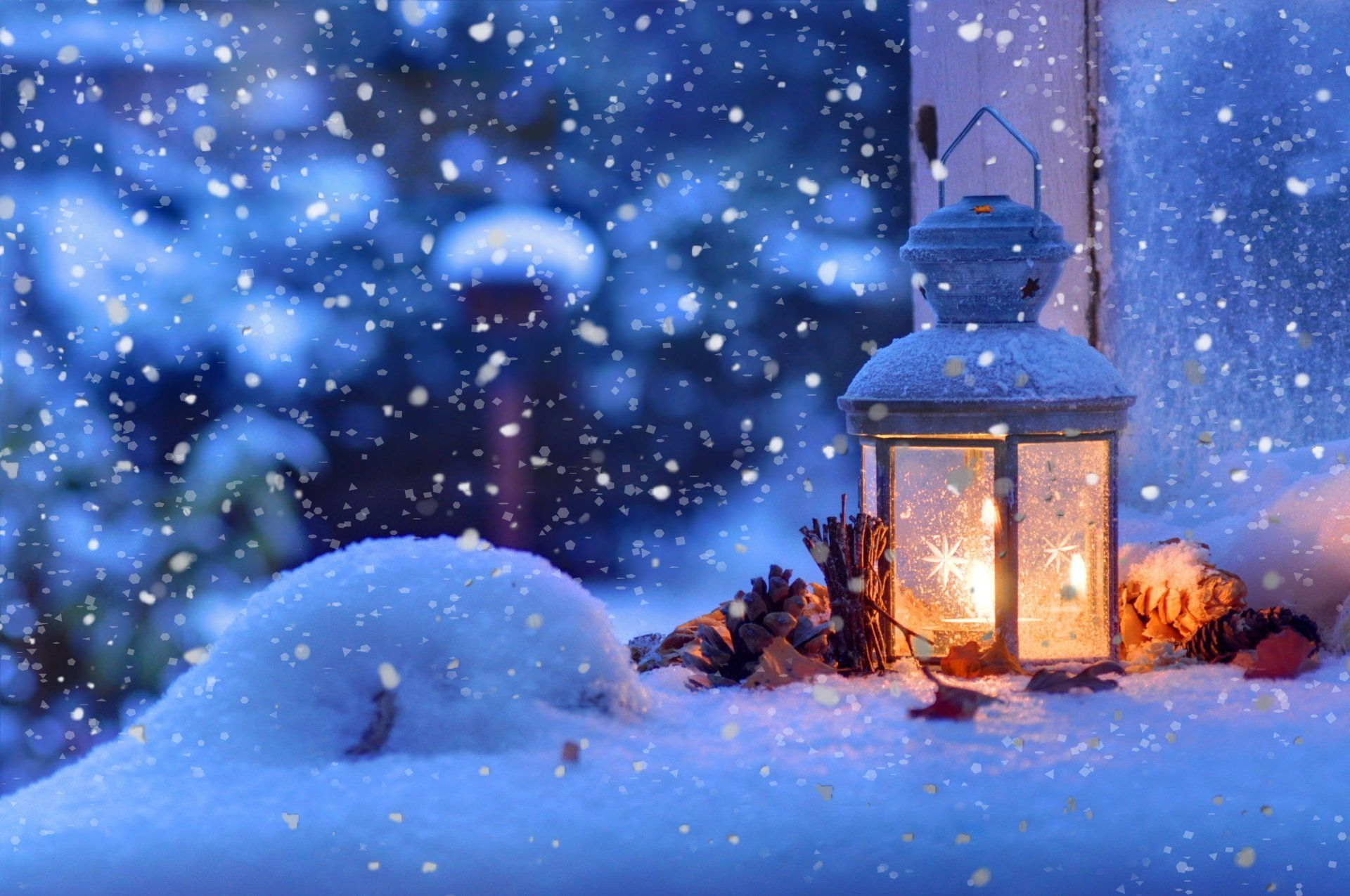 Photography Winter Christmas Snowfall Snowflake Lantern