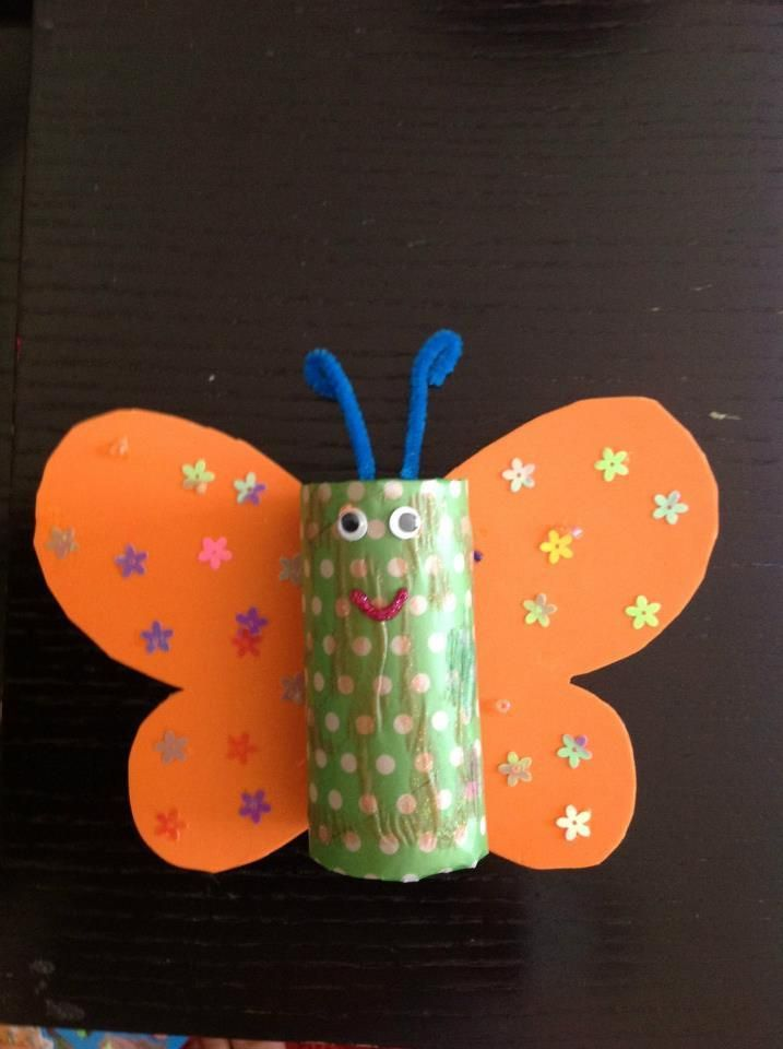 Butterfly From Empty Paper Towel Roll Crafts Butterfly Crafts Crafts For Kids